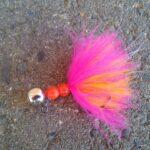 Steelhead Jig - Beaded Schlappen - Cerise over Hot Orange