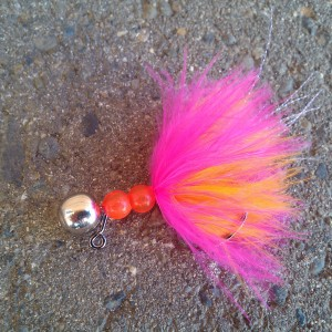 Steelhead Jig - Beaded Schlappen - Cerise over Hot Orange