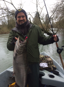 "This Fall Chinook jumped all over the bright ""Hot Pink"" twitching jig in off colored waters."