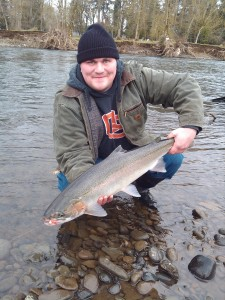 "Cooper is all smiles after his second healthy wild winter steelhead on a beaded schlappen ""Shrimp & White"" jig"