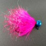 Dinger Jigs - UV Sparklers Steelhead Jig - Cerise with Metallic Blue Head